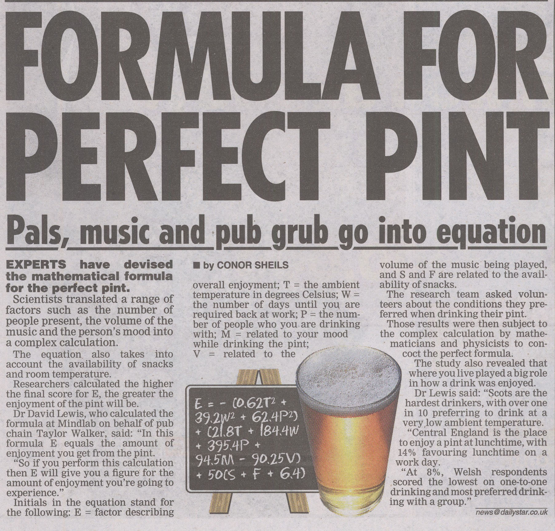 TAYLOR WALKER - PERFECT PINT - DAILY STAR PRINT
